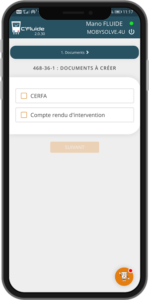 Vu de l'option compte rendu d'intervention dans l'application C'Fluide